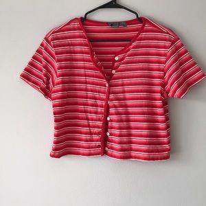 90s Vintage Red/ Pink Button Crop Top💗❤️💗❤️